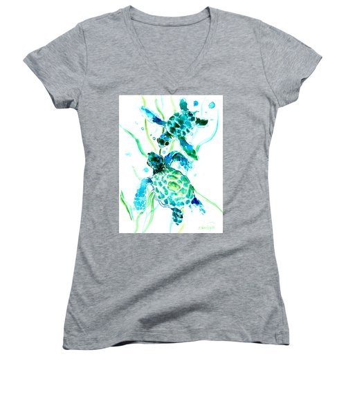 Turquoise Indigo Sea Turtles Women's V-Neck T-Shirt