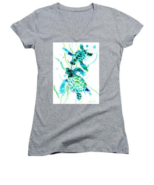 Turquoise Indigo Sea Turtles Women's V-Neck (Athletic Fit)