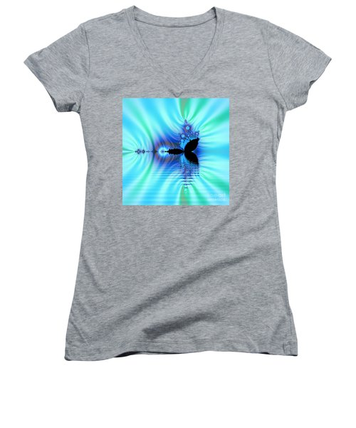 Turquoise Lake Fractal Women's V-Neck