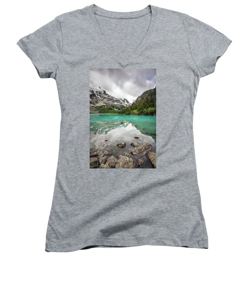 Women's V-Neck T-Shirt (Junior Cut) featuring the photograph Turquoise Lake In The Mountains by Pierre Leclerc Photography