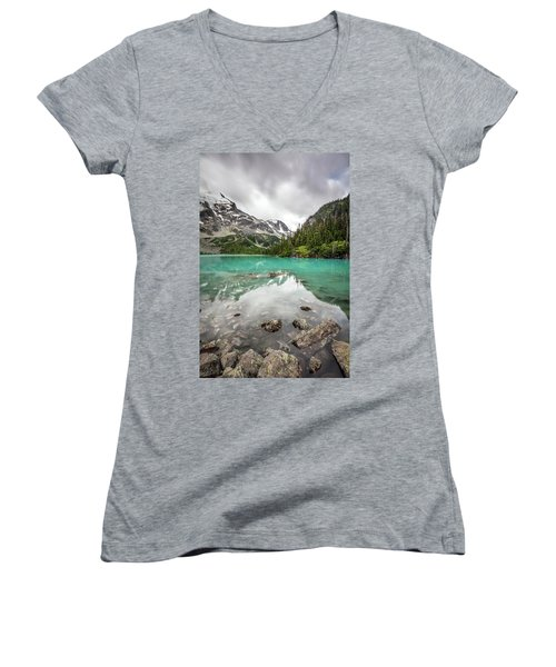 Turquoise Lake In The Mountains Women's V-Neck