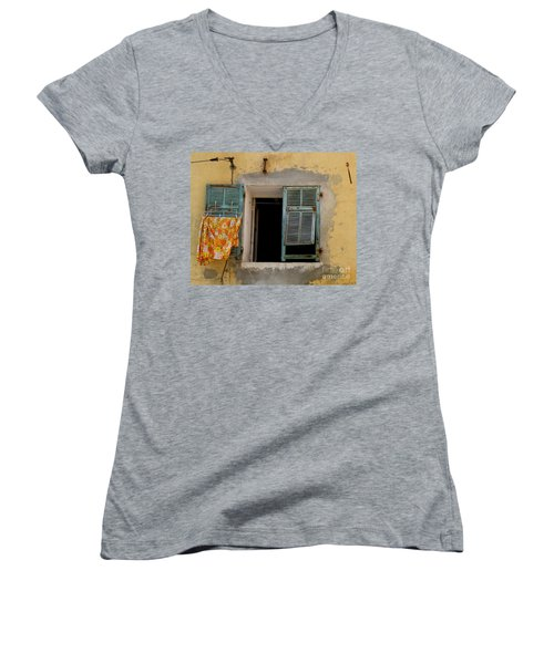 Turquoise Shuttered Window Women's V-Neck T-Shirt