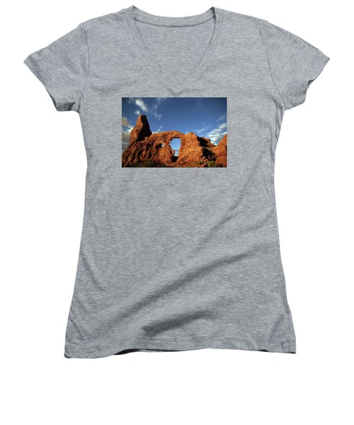 Turret Arch In The Moonlight Women's V-Neck