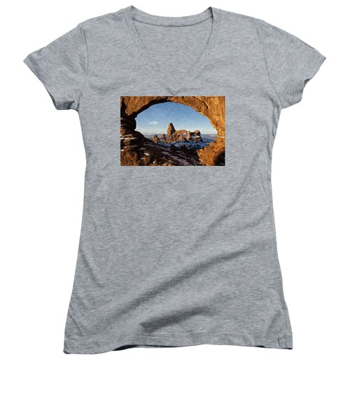 Women's V-Neck T-Shirt (Junior Cut) featuring the digital art Turret Arch by Kai Saarto