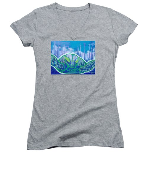 Turtle Women's V-Neck T-Shirt (Junior Cut) by Andres Pola