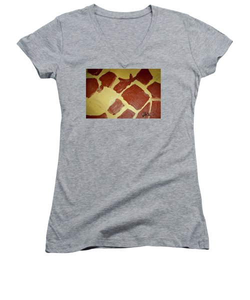 Women's V-Neck T-Shirt (Junior Cut) featuring the painting Turtle Lamp by Shea Holliman