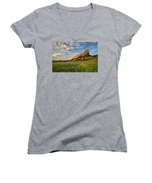 Turtle Rock At Sunset Women's V-Neck T-Shirt (Junior Cut) by Endre Balogh