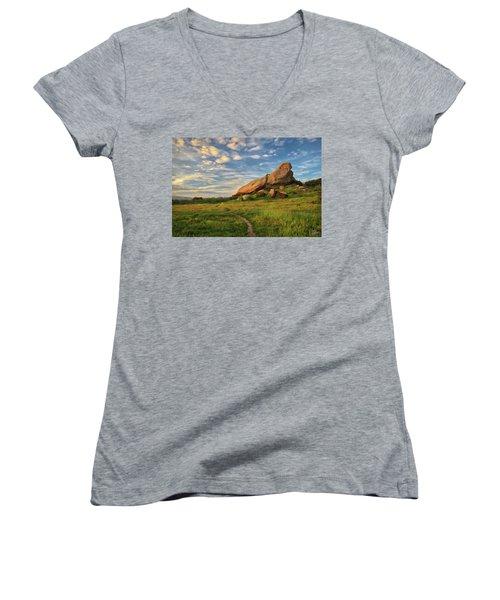 Turtle Rock At Sunset Women's V-Neck T-Shirt