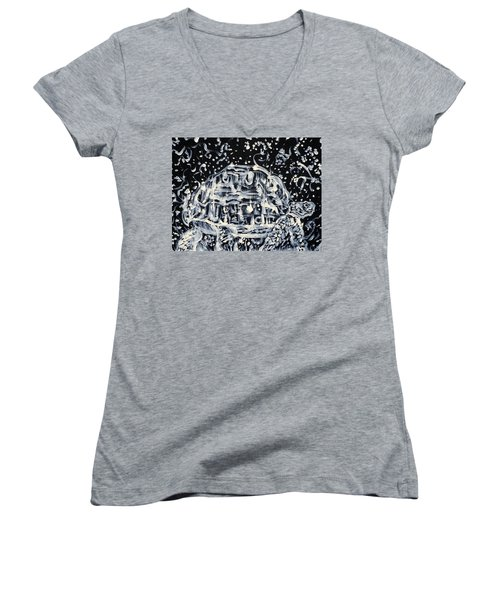 Women's V-Neck T-Shirt (Junior Cut) featuring the painting Turtle Walking Under A Starry Sky by Fabrizio Cassetta