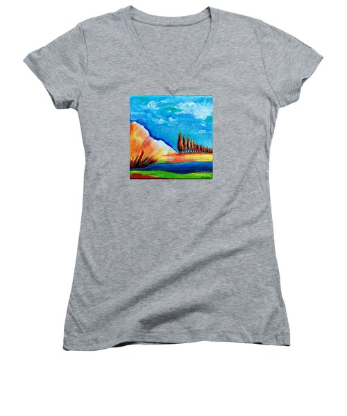 Tuscan Cypress Women's V-Neck T-Shirt (Junior Cut) by Elizabeth Fontaine-Barr