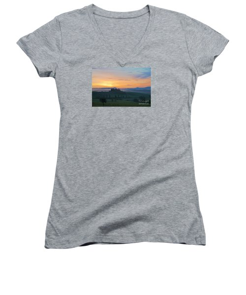 Women's V-Neck T-Shirt (Junior Cut) featuring the photograph Tuscan Morning by Yuri Santin
