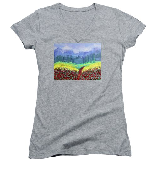 Tuscan Poppies Women's V-Neck (Athletic Fit)
