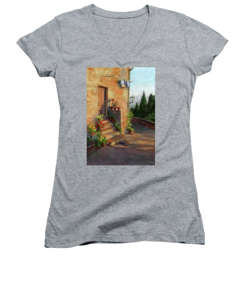 Women's V-Neck T-Shirt (Junior Cut) featuring the painting Tuscany Morning Light by Vikki Bouffard