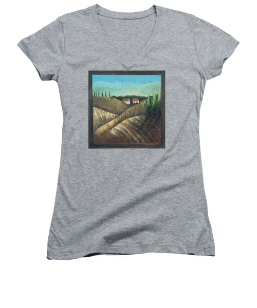 Tuscany Trees Women's V-Neck (Athletic Fit)