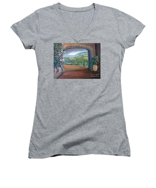 Tuscany Vineyards Through The Archway Women's V-Neck T-Shirt