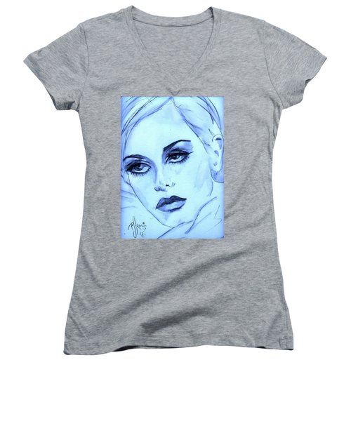 Women's V-Neck T-Shirt (Junior Cut) featuring the painting Twiggy In Blue by P J Lewis