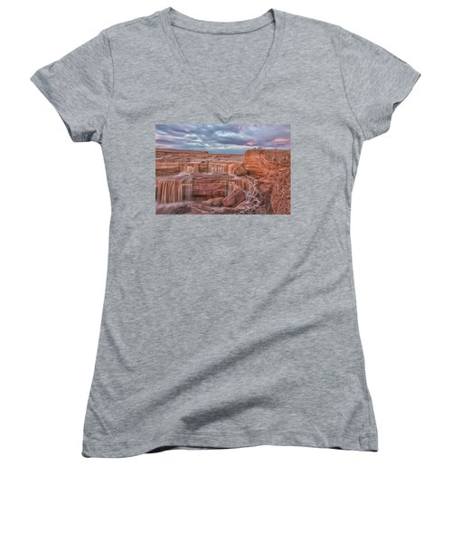 Twilight At Chocolate Falls Women's V-Neck T-Shirt (Junior Cut) by Tom Kelly