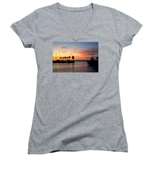Twilight At The Marina Women's V-Neck T-Shirt