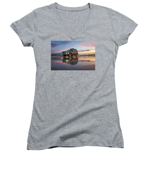 Twilight Beach Reflections And 4wd Car Women's V-Neck T-Shirt