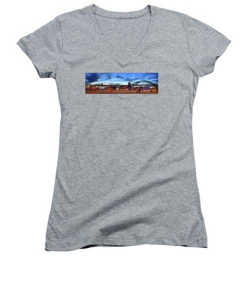 Women's V-Neck T-Shirt featuring the photograph Twilight By The Bridge By Kaye Menner by Kaye Menner