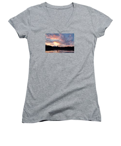 Twilight Glory Women's V-Neck T-Shirt (Junior Cut) by Lynda Lehmann