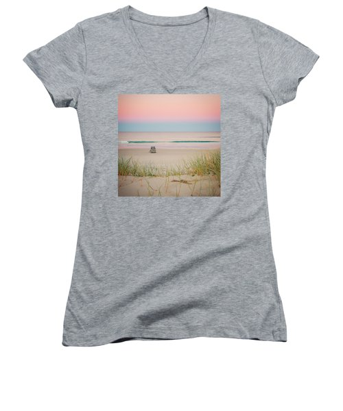 Twilight On The Beach Women's V-Neck (Athletic Fit)