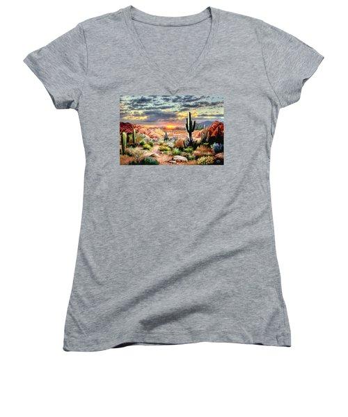Twilight On The Desert Women's V-Neck T-Shirt (Junior Cut) by Ron Chambers