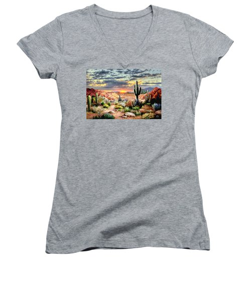 Twilight On The Desert Women's V-Neck T-Shirt