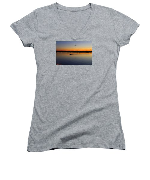 Women's V-Neck T-Shirt (Junior Cut) featuring the photograph Twilight Water Skiing by Michael Rucker
