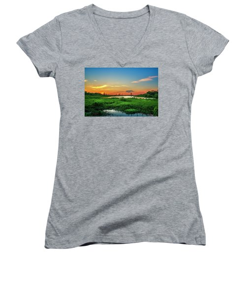 Women's V-Neck T-Shirt (Junior Cut) featuring the photograph Twilights Arrival by Marvin Spates