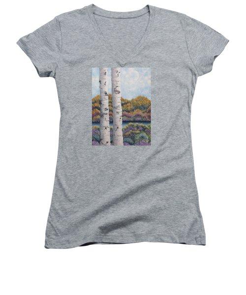 Twin Aspens Women's V-Neck T-Shirt (Junior Cut) by Holly Carmichael