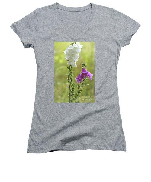 Twin Foxgloves Women's V-Neck T-Shirt (Junior Cut)