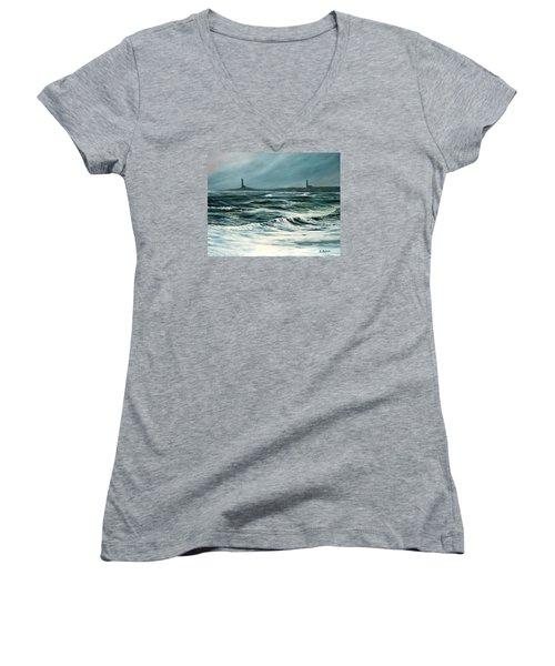 Twin Lights Rockport Ma Women's V-Neck T-Shirt