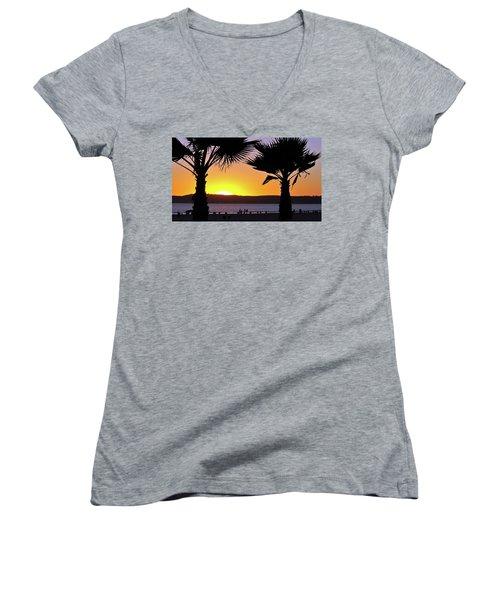 Twin Palms At Sunset Women's V-Neck