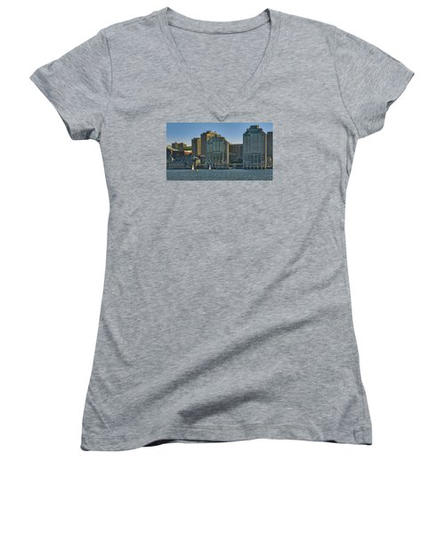 Twin Purdy Towers Of Halifax Women's V-Neck T-Shirt (Junior Cut) by Ken Morris