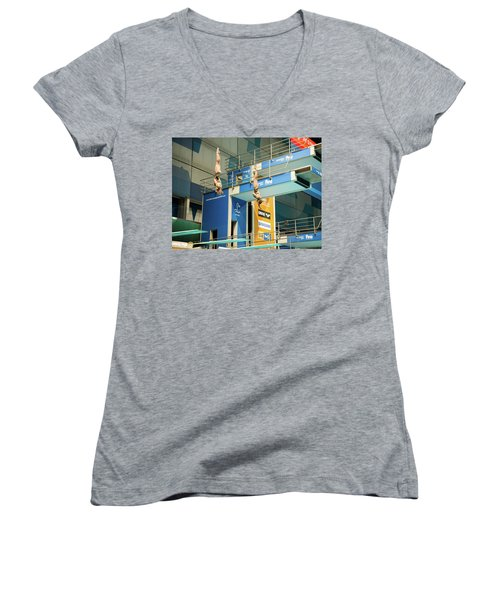 Women's V-Neck T-Shirt featuring the photograph Twin Spin by Alex Lapidus