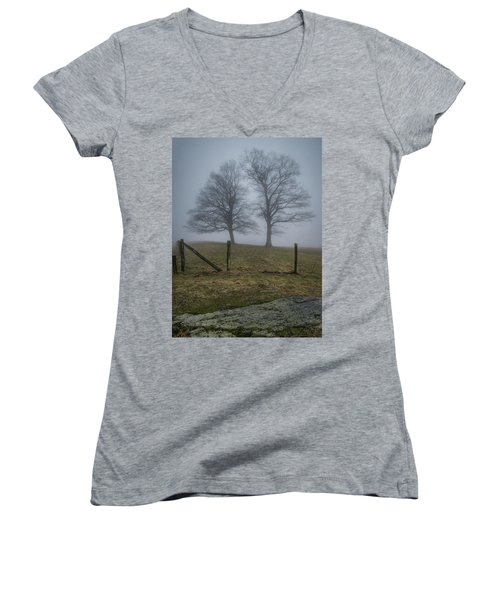 Twin Trees Late Fall Foggy Morning Women's V-Neck