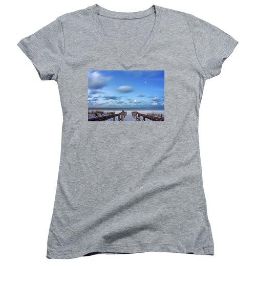 Twinkling Stars Women's V-Neck T-Shirt (Junior Cut) by Don Spenner