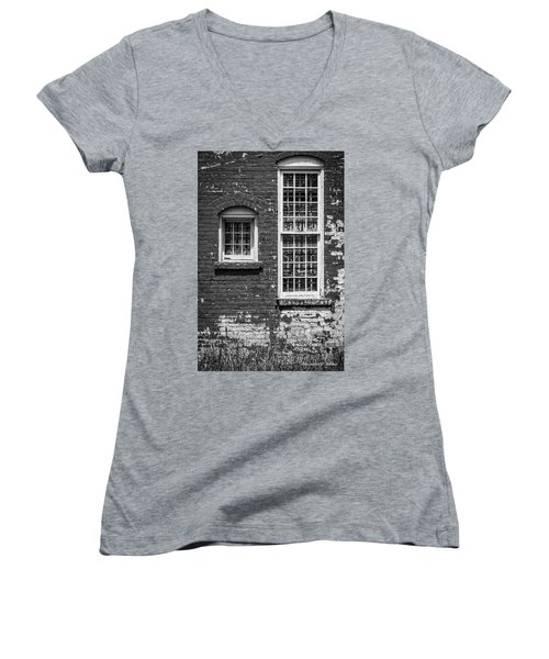 Women's V-Neck T-Shirt (Junior Cut) featuring the photograph Twins - Bw by Christopher Holmes