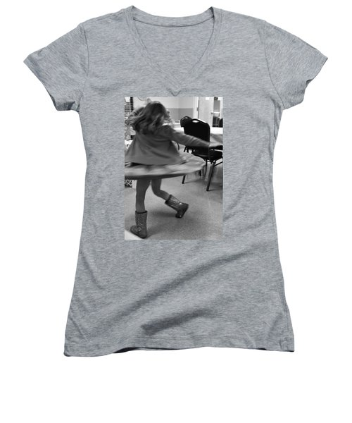 Twirling Girl  Women's V-Neck T-Shirt