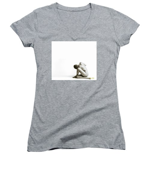 Women's V-Neck T-Shirt featuring the photograph Twisted Figure On White by Rikk Flohr