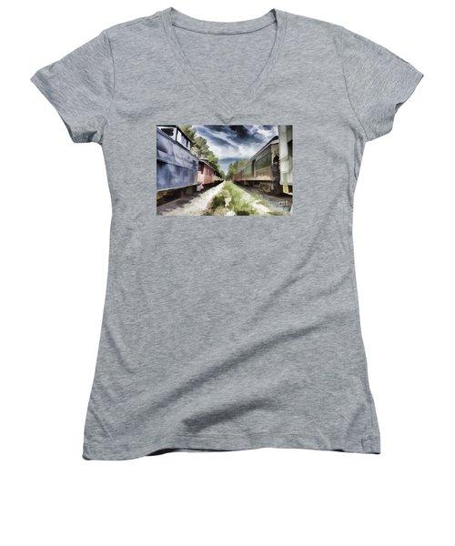 Twixt The Trains Women's V-Neck T-Shirt (Junior Cut) by Roberta Byram