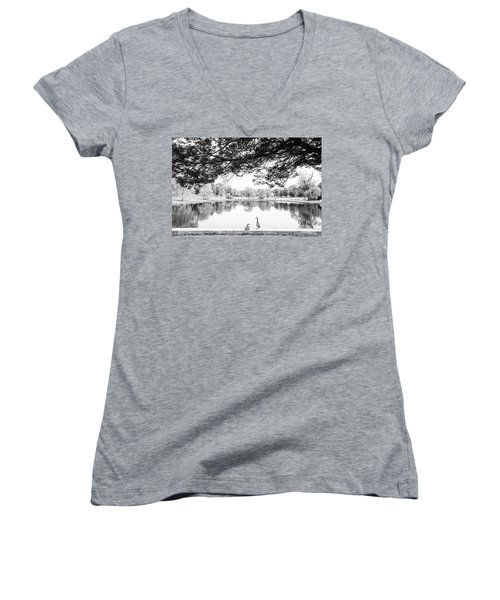 Women's V-Neck T-Shirt (Junior Cut) featuring the photograph Two At The Pond by Karol Livote