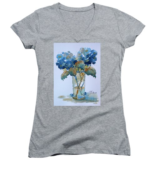 Two Blue Hydrangea Women's V-Neck (Athletic Fit)