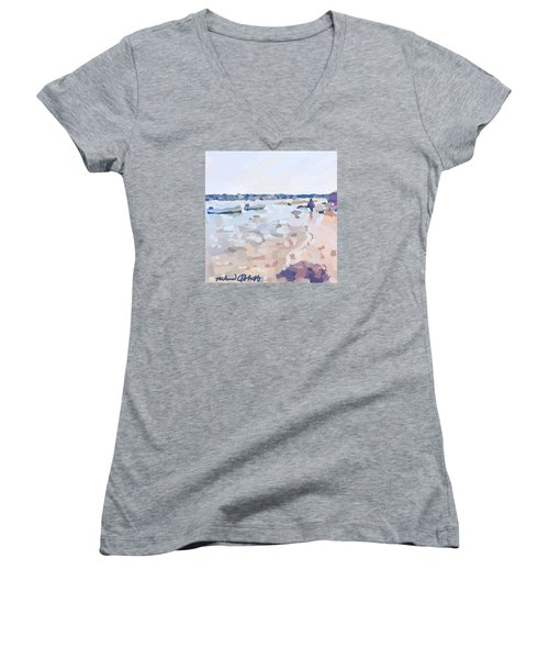 Two Boats At Ten Pound Island Beach Women's V-Neck T-Shirt (Junior Cut) by Melissa Abbott