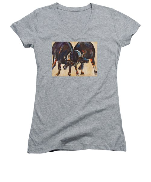 Two Bulls Fighting Women's V-Neck (Athletic Fit)