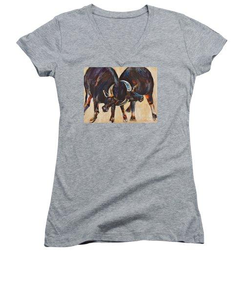 Two Bulls Fighting Women's V-Neck T-Shirt