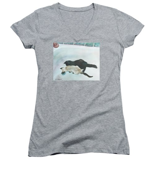 Two Cats In A Tub Women's V-Neck (Athletic Fit)