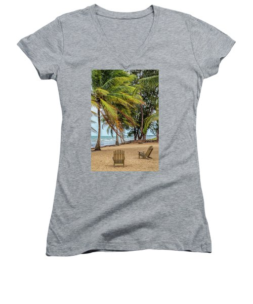 Two Chairs In Belize Women's V-Neck T-Shirt (Junior Cut)