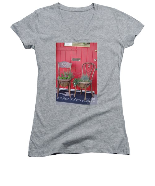 Two Chairs With Plants Women's V-Neck (Athletic Fit)